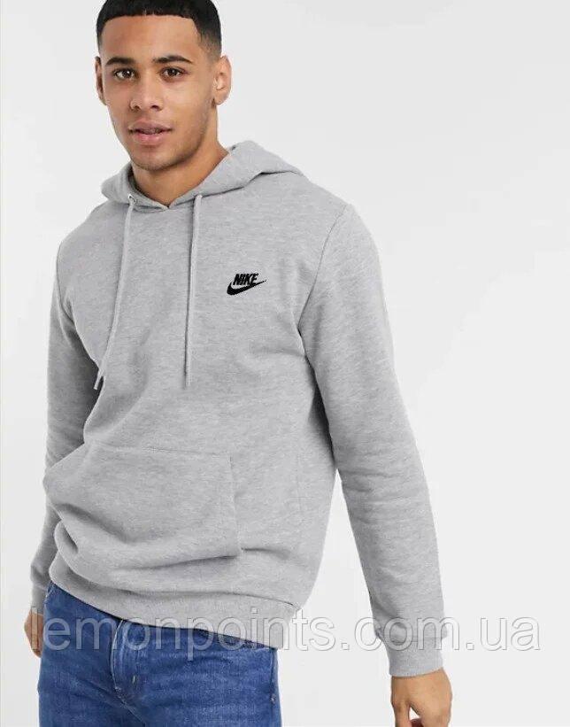 Чоловіча спортивна Тепла толстовка, худі, кенгурушка ФЛИС (до -25 °С) Nike (Найк) Сірий