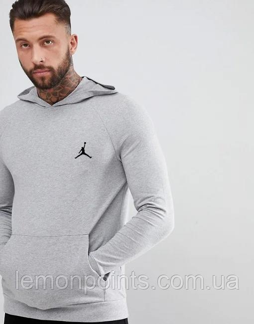 Чоловіча спортивна Тепла толстовка, худі, кенгурушка ФЛИС (до -25 °С) Jordan (Джордан) Сірий