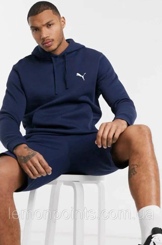 Теплая мужская спортивная толстовка, худи, кенгурушка Puma (Пума) синяя ФЛИС (до -25 °С)