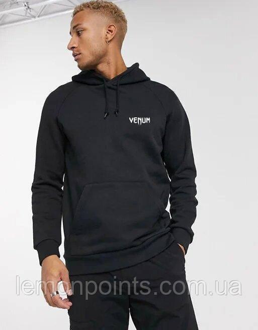 Теплая мужская спортивная толстовка, худи, кенгурушка Venum (Венум) черная ФЛИС (до -25 °С)