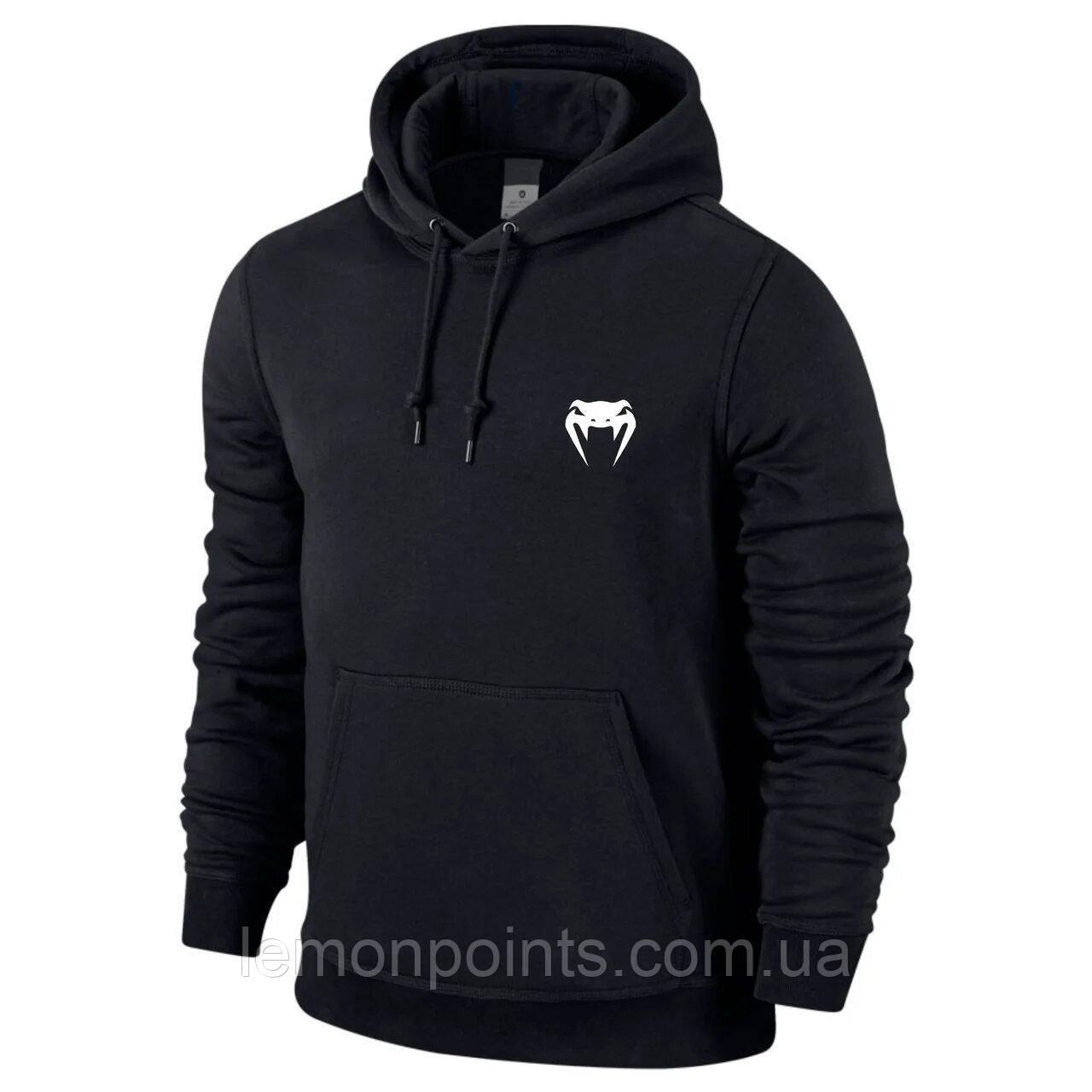 Теплая мужская спортивная толстовка, худи, кенгурушка Venum (Венум) черная (ФЛИС)