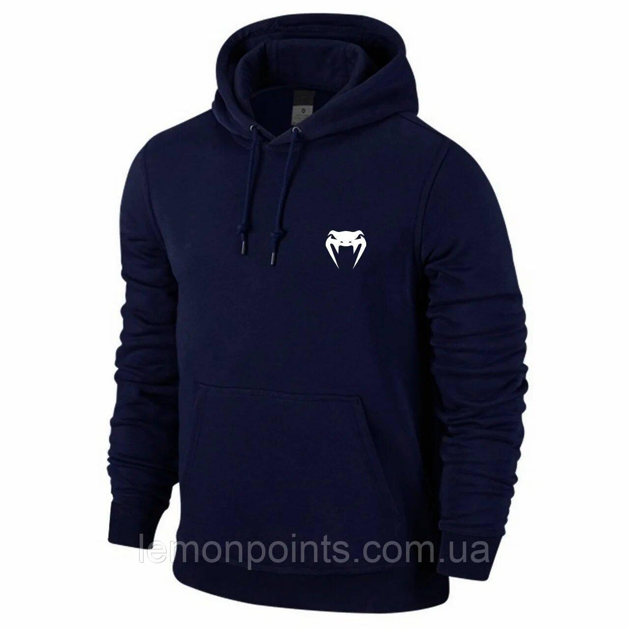 Теплая мужская спортивная толстовка, худи, кенгурушка Venum (Венум) синяя (ФЛИС)