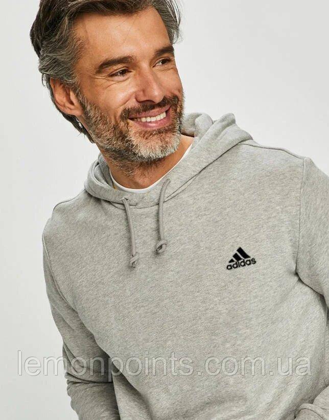 Теплая мужская спортивная толстовка, худи, кенгурушка Adidas (Адидас) серая ФЛИС (до -25 °С)