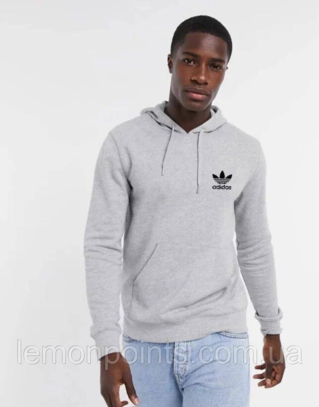 Чоловіча спортивна толстовка, худі, кенгурушка Adidas (Адідас) Сірий