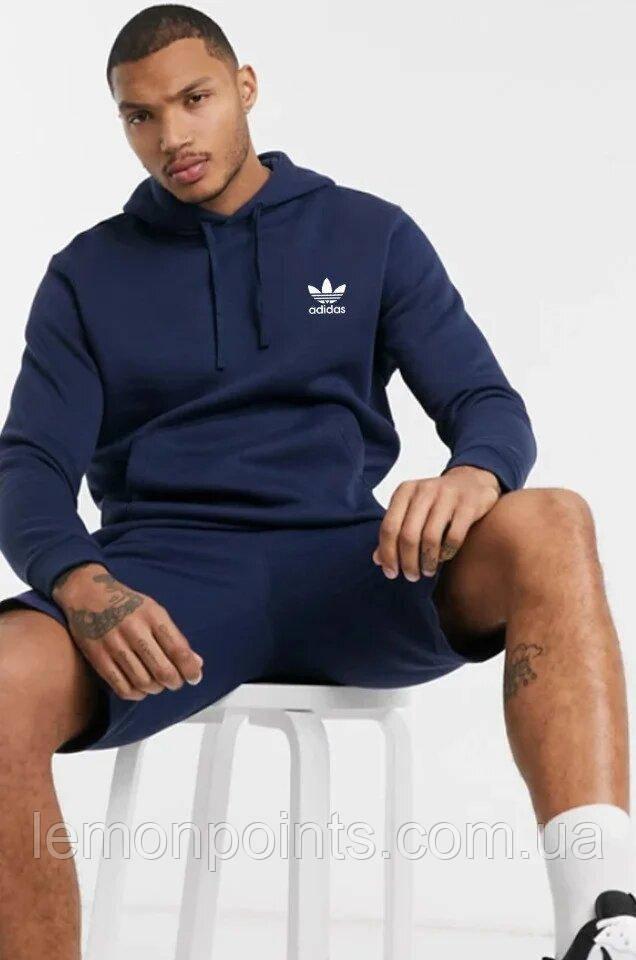 Чоловіча спортивна Тепла толстовка, худі, кенгурушка ФЛИС (до -25 °С) Adidas (Адідас) Темно-синій