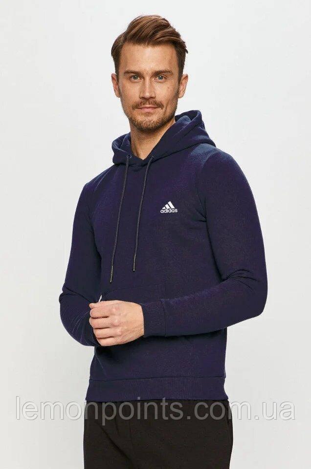 Теплая мужская спортивная толстовка, худи, кенгурушка Adidas (Адидас) синяя ФЛИС (до -25 °С)