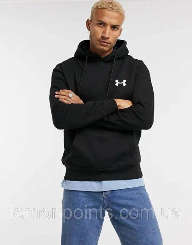 Теплая мужская спортивная толстовка, худи, кенгурушка Under Armour (Андер армор) черная ФЛИС (до -25 °С)