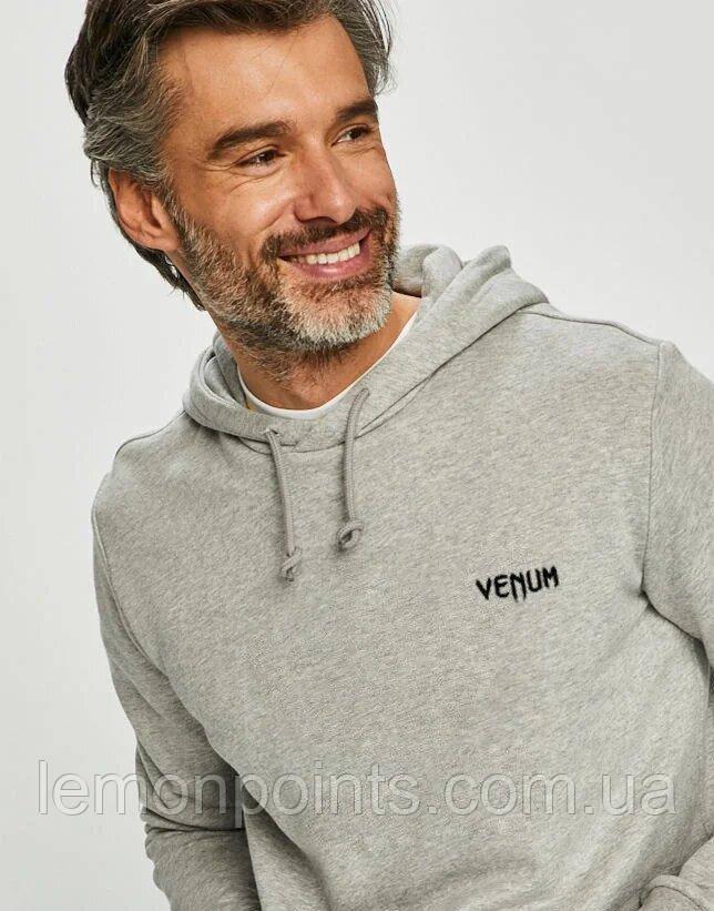Теплая мужская спортивная толстовка, худи, кенгурушка Venum (Венум) серая ФЛИС (до -25 °С)