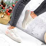Кроссовки женские For беж + пудра + красный 2832, фото 4