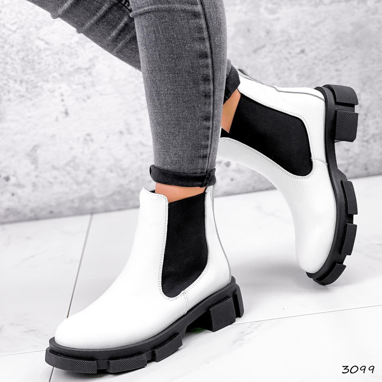 Ботинки женские Slow белые + черный 3099