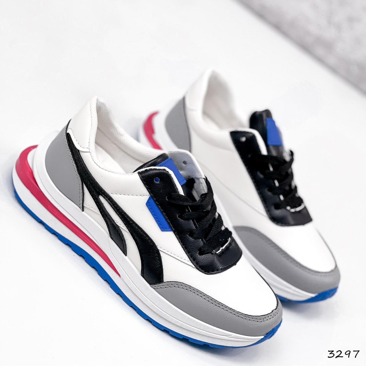 Кросівки жіночі Ursula білі + сірий + чорний + синій 3297