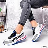 Кросівки жіночі Ursula білі + сірий + чорний + синій 3297, фото 3