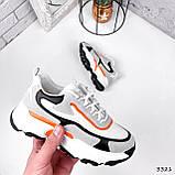 Кроссовки женские Linda белые + серый + черный + оранжевый 3321, фото 2