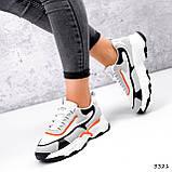 Кроссовки женские Linda белые + серый + черный + оранжевый 3321, фото 4
