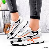 Кроссовки женские Linda белые + серый + черный + оранжевый 3321, фото 5
