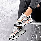 Кроссовки женские Linda белые + серый + черный + оранжевый 3321, фото 6
