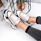 Кроссовки женские Linda белые + серый + черный + оранжевый 3321, фото 7