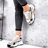Кроссовки женские Linda белые + серый + черный + оранжевый 3321, фото 8