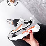 Кроссовки женские Linda белые + серый + черный + оранжевый 3321, фото 9