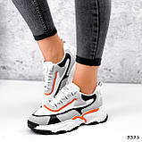 Кроссовки женские Linda белые + серый + черный + оранжевый 3321, фото 10