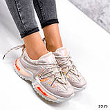 Кеди жіночі Lita беж + оранжевий голографик 3351, фото 3