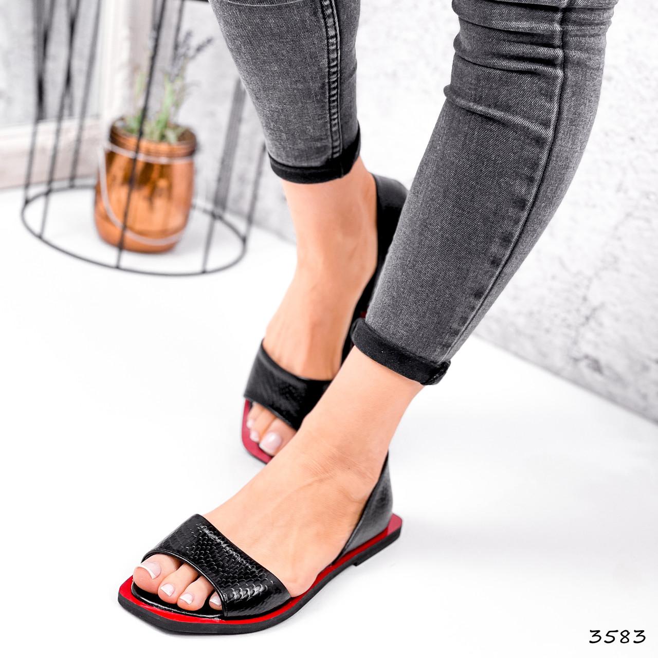 Босоножки женские Carla черные + красный 3583