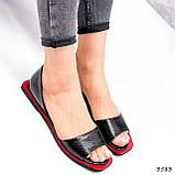 Босоножки женские Carla черные + красный 3583, фото 2