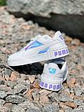 Кроссовки женские в стиле Puma белые + голография 4319, фото 8