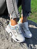 Кроссовки женские Marlis белые + серый + черный + голографик 4342, фото 3