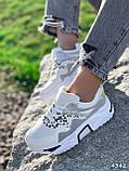 Кроссовки женские Marlis белые + серый + черный + голографик 4342, фото 8