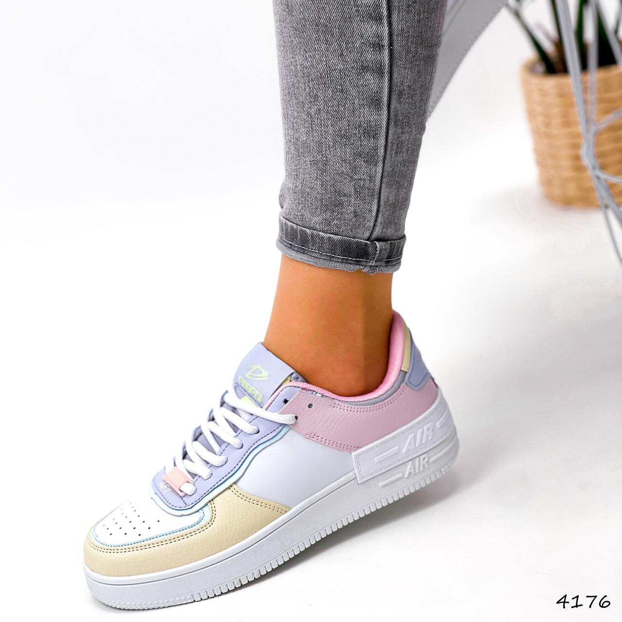 Кроссовки женские Fores белые + желтый + пудра + фиолетовый 4176