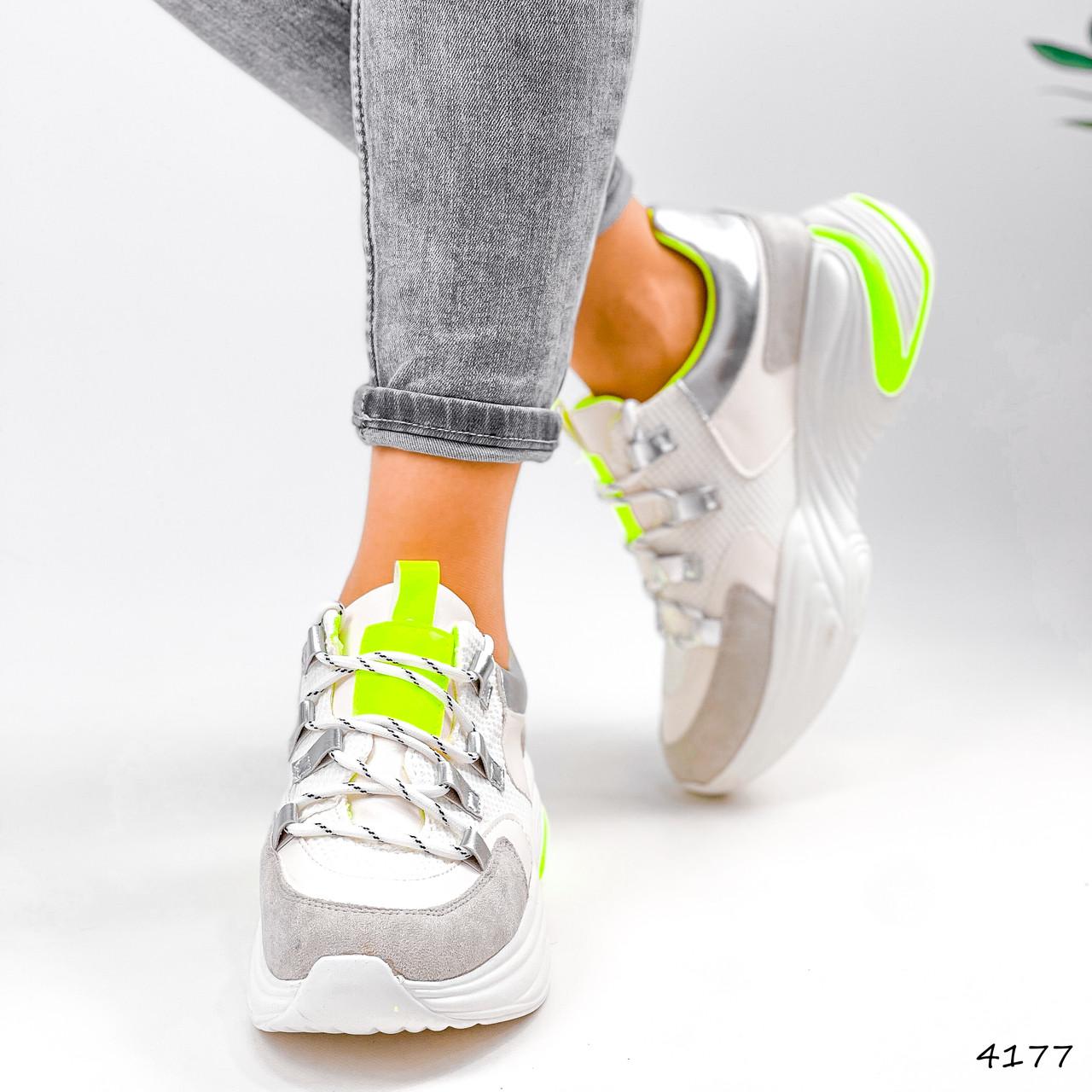 Кросівки жіночі Joy білі + сірий + срібло + салатовий 4177