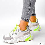 Кросівки жіночі Joy білі + сірий + срібло + салатовий 4177, фото 2