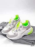 Кросівки жіночі Joy білі + сірий + срібло + салатовий 4177, фото 3
