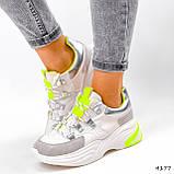 Кросівки жіночі Joy білі + сірий + срібло + салатовий 4177, фото 5