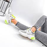 Кросівки жіночі Joy білі + сірий + срібло + салатовий 4177, фото 6