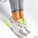 Кросівки жіночі Joy білі + сірий + срібло + салатовий 4177, фото 7
