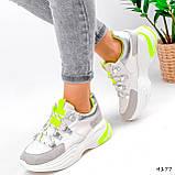 Кросівки жіночі Joy білі + сірий + срібло + салатовий 4177, фото 8
