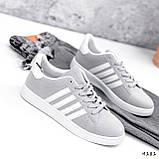 Кросівки жіночі Adis сірі + білий 4181, фото 3