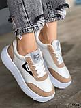 Кросівки жіночі Lanwar білі + коричневий 4208, фото 2
