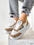 Кросівки жіночі Lanwar білі + коричневий 4208, фото 3