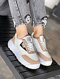 Кросівки жіночі Lanwar білі + коричневий 4208, фото 5