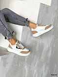 Кросівки жіночі Lanwar білі + коричневий 4208, фото 6