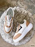 Кросівки жіночі Lanwar білі + коричневий 4208, фото 7