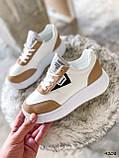 Кросівки жіночі Lanwar білі + коричневий 4208, фото 8