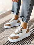 Кросівки жіночі Lanwar білі + коричневий 4208, фото 10