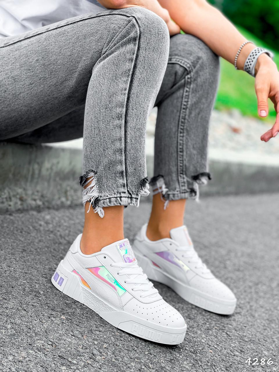 Кроссовки женские в стиле Puma белые + голографик 4286