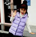 Жилетка для девочки подростка удлиненная с капюшоном 5-14 лет, фото 3