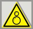 Предупреждающий знак «Осторожно. Возможно затягивание между вращающимися элементами».