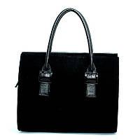 Замшевая женская сумка черная деловая №1343z